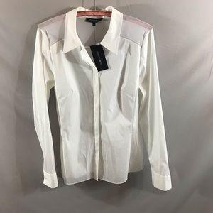 Lafayette 148 white button down shirt